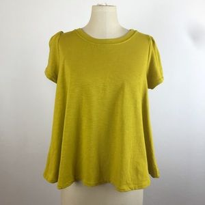Anthropologie Eri + Ali Yellow Puffed Sleeve Top